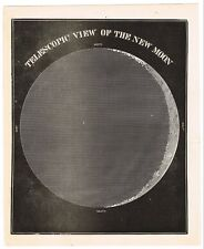 ANTIQUE PRINT VINTAGE 1860 ASTRONOMY STAR ORIGINAL WOOD BLOCK MOON VIEW NEW