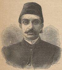 A3400 Abd-ul-hamid II - Stampa Antica del 1887 - Xilografia