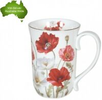 Fine Bone China 405cc Poppies Coffee Tea Cup Mug Mothers Day Easter Gift White
