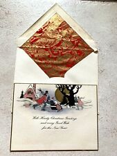 Vintage Greeting Card Christmas Art Deco 1920s Chair Sled New