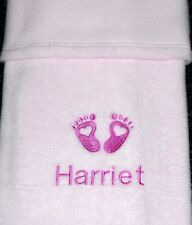 Personalised Baby Blanket Embroidered Heart Baby Feet Design Pink Newborn, Gift