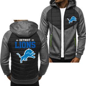 New Detroit Lions Hoodie Classic Autumn Hooded Sweatshirt Jacket Coat Top Tops