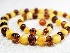 "Adult Amber Necklace 18"" Multicolor. Baltic amber- Genuine Baltic Amber"