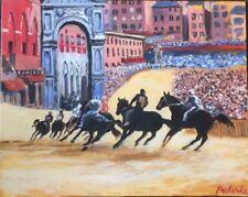 "Original Painting ""Palio di Siena"", Acrylic on Canvas 16""x20"" by C. Pecharka"