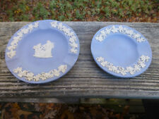 "Antique Vintage Wedgwood Jasper Classic Blue Ashtrays 4 3/8"" & 3 1/2"""