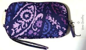 NWT Vera Bradley Lighten Up Tech Case Wristlet Wallet Pouch in Paisley Amethyst