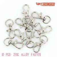 10Pcs Silver Swivel Trigger Clips Snap Lobster Clasp Hook Bag Key Ring Hooks