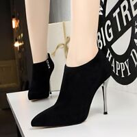 UK Women Suede Pointy Toe Stiletto Pumps Zipper Slim High Heel Ankle Boots Party