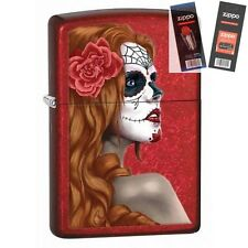 Zippo 28830 day of the dead zombie Lighter with *FLINT & WICK GIFT SET*