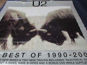 U2 THE BEST OF 1990-2000 VINYL PROMO POSTER 36W X 35 1/2L GOOD COND LIGHT MARKS