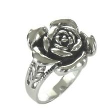 925  Sterling Silver Large Rose Flower Ring Size 7-10