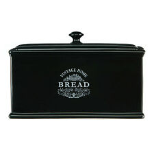 Black Vintage Bread Box Canister Home Ceramic Country Kitchen Jars Storage