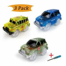 3 Pack LED Light Up Mini Car Toys for Magic Tracks Electronics Flashing Lights