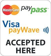 MASTERCARD PAYPASS VISA PAYWAVE STICKER/DECAL FOR SHOP DOOR WINDOW SHOPFRONT