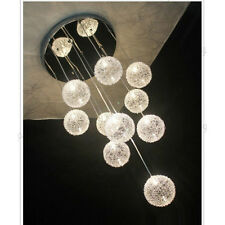 New Round Ball Chandelier Light Aluminum Wire Clear Glass Lamp Ceiling Lighting