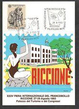 ITALIA CARTOLINA 1983 FIERA INTERNAZIONALE FRANCOBOLLO CON ANNULLO SPECIALE CUMO