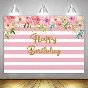 Pink Stripes Watercolor Flowers Backdrop Princess Girl Birthday Party Background