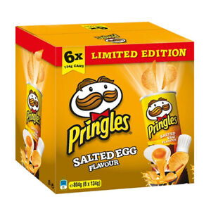 6 x PRINGLES POTATO CHIPS SALTED EGG FLAVOUR PANTRY SNACKS FOOD CRACKERS 134g