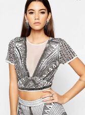 c3f4841b68cc9 Asos Night Heavily Embellished White Crop Top Party Wear Size 8 Rrp £75