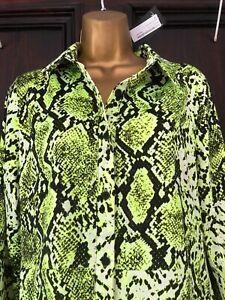 Nasty Gal Lime Green Snake Print Knee Length Shirt Dress size 14 BNWT