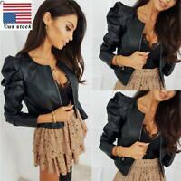 Women PU Leather Puff Sleeve Coat Ladies Crop Blazer Jacket Zip Tops Cardigan US