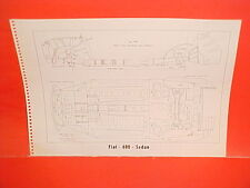 1961 FIAT 600 SUNROOF JOLLY SEDAN 1100 DELUXE SEDAN FRAME DIMENSION CHART