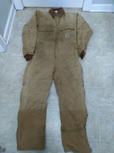 Carhartt Coveralls Double Knees size 42 regular Distressed Insulated Made in USA