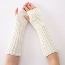 Women Ladies Winter Warm Gloves Knitted Long Fingerless Gloves Arm Soft Mittens
