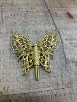 Vintage Signed Monet butterfly gold tone brooch pin
