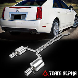 """Fits 2009-2014 Cadillac CTS 6.2[4""""ROLLED TIP DUAL MUFFLER]Catback Exhaust System"""