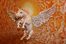 """Painted Sculpture Wood Carving Wall Art """"Winged Horse"""" 48""""x36"""""""