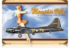 Memphis Belle Flying Fortress Pinup rusted steel sign 460mm x 300mm (pst)