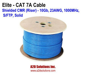 ELITE 250 FT CAT 7A Shielded CMR (Riser) 10Gb, 23AWG, 1000MHz, S/FTP, Solid BLUE