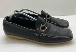 Salvatore Ferragamo Horsebit Loafer Black Leather Men US Size 10