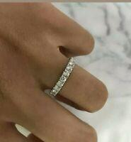 14K White Gold Over 1.0Ct Beautiful Round Cut White Diamond Engagement Band Ring