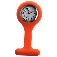 Nurses Brooch Silicone Rubber Tunic Fob Watch Orange Z1V7