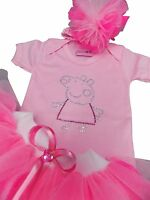 Pink Peppa Pig Costume Sparkle Neon Tutu Skirt Girls 80 Fancy Dress Baby Toddler