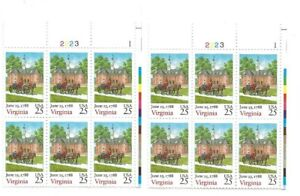 1987 25-cent US stamps Virginia statehood 2 partial sheets of 6