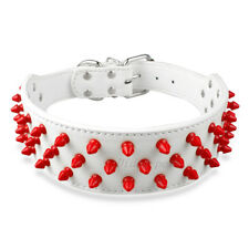 Leather Studded Dog Collars Unique Red Spikes for Pit Bull Terrier Bully Mastiff