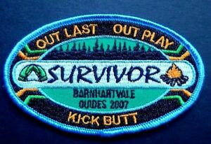Girl Guides Survivor Patch-Out Last Out Play Kick Butt Barnhart Vale Guides 2007