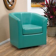Contemporary Turquoise Leather Swivel Club Chair
