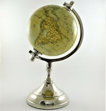 """Small Desktop World Globe in Antique Beige 5"""" with Metal Base Home Office Decor"""