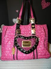 BETSEYVILLE XL PINK QUILTED HEART CARRYALL SHOPPER'S TOTE - VGUC