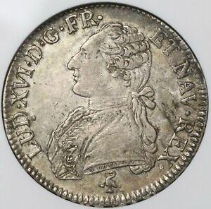 1790-A NGC XF 40 France Louis XVI Ecu Crown Silver Paris Coin (21090105C)