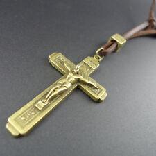 Cross Pendant Bronze Necklace Crucifix Long Faux Leather