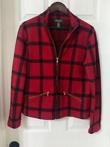 Lauren Ralph Lauren Womens Red Black Plaid Zip Front Sweater Jacket Sz MEDIUM