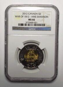2012 Canada 2 Two Dollar Coin War 1812 Shannon Ship NGC MS 66
