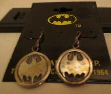 Vintage Licensed DC Comics Batman Round Dangling Sterling Silver Earrings MOC #2