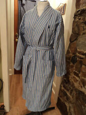 Polo Ralph Lauren Blue Stripe Cotton Long Robe GIFT nvy Turkey terry cloth line