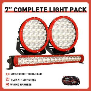 "NEW RED OSRAM 7"" Spot LED Driving Lights Round Pair + 22"" LED Light Bar Combo"